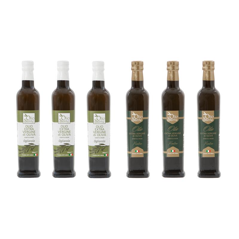 Olio Evo Ogliarola e Frantoio 500ml 2019/20 - Olio extravergine di oliva Pugliese cultivar Ogliarola e Frantoio Sante 6 Bottiglie da 500 ml - Terre di Ostuni