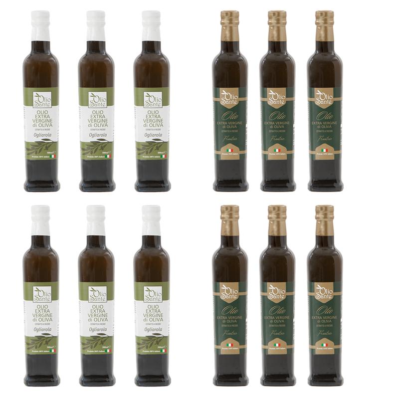 Olio Evo Ogliarola e Frantoio 500ml 2020/21 - Olio extravergine di oliva Pugliese cultivar Ogliarola e Frantoio Sante 12 Bottiglie da 500 ml - Terre di Ostuni