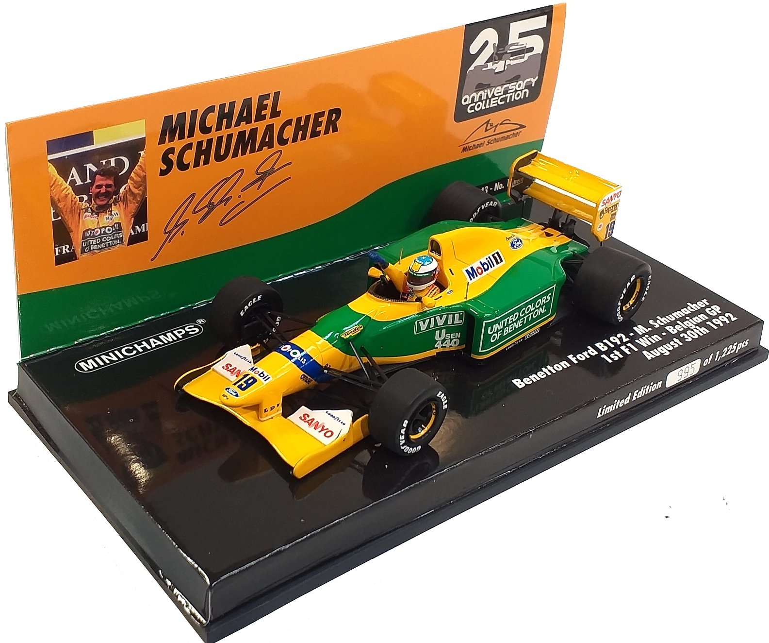 Benetton Ford B192 Michael Schumacher 1st F1 Win Belgian Gp 1992 1/43