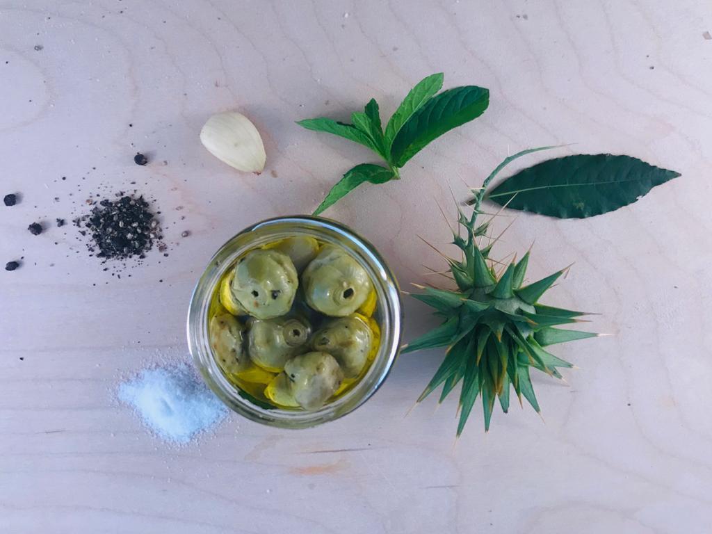 Carciofini selvatici biologici della Sila in olio extra vergine d'oliva vasetto gr 200