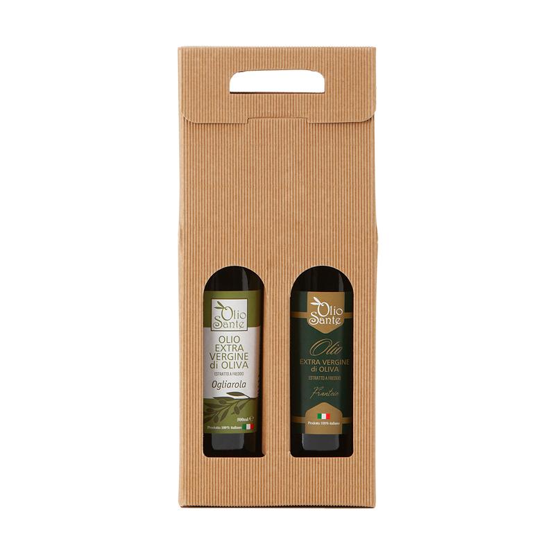 Confezione regalo composta da due bottiglie di olio extravergine Italiano - olio evo Frantoio 0,250ml, Ogliarola 0,250 ml