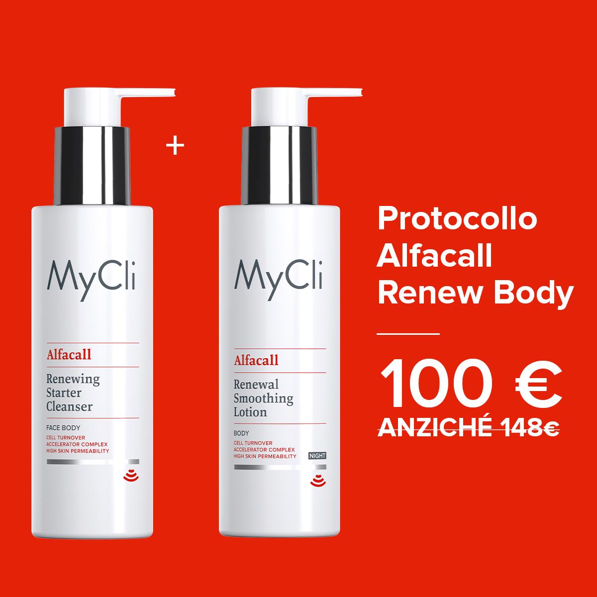 Protocollo RENEW BODY Alfacall Detergente Starter Rinnovatore + Alfacall Fluido Levigante Rinnovatore Notte - CORPO 200 ml