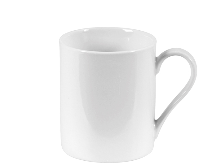 Tazza mug cilindrica in porcellana bianca