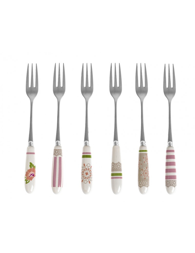 Confezione regalo con 6 forchettine in acciaio e porcellana