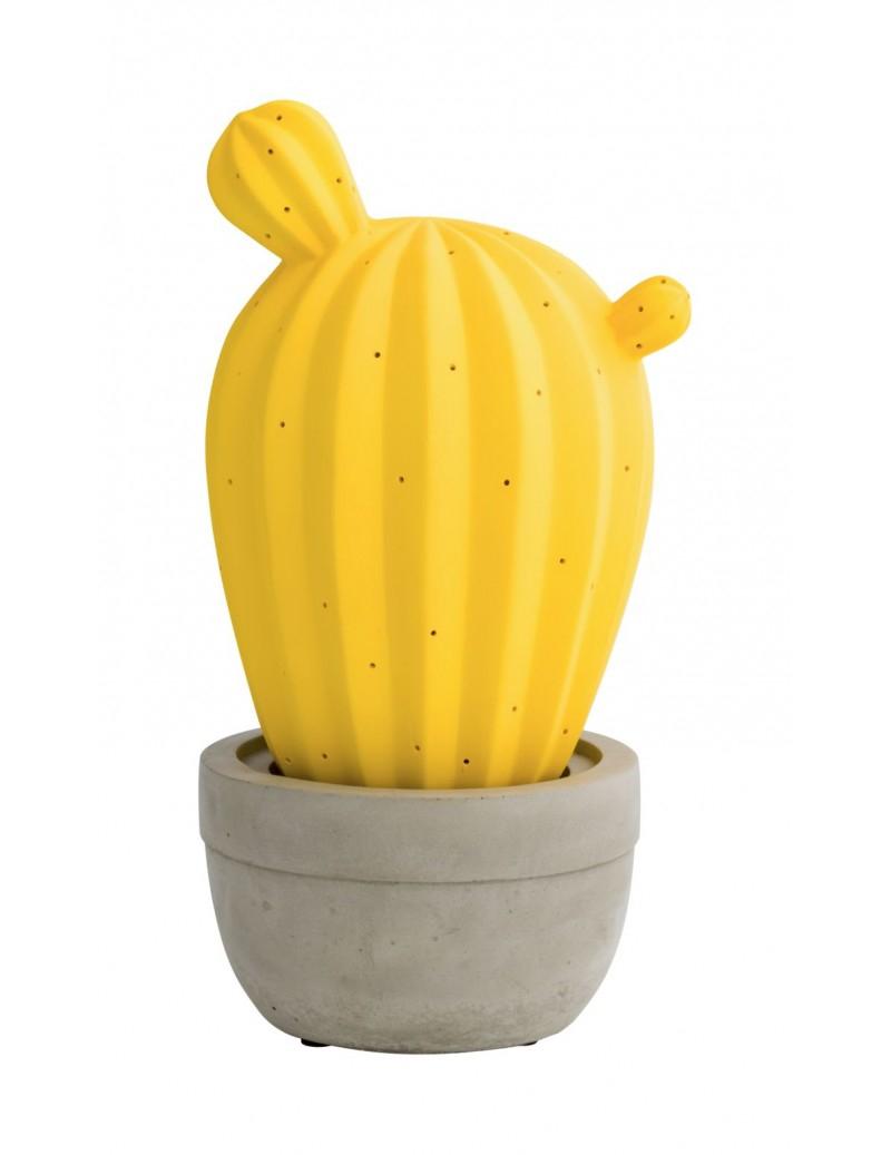 Lampada cactus gialla e base grigia