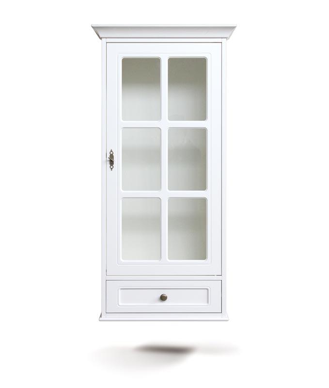 Vitrina clásica de pared 1 puerta y cajón