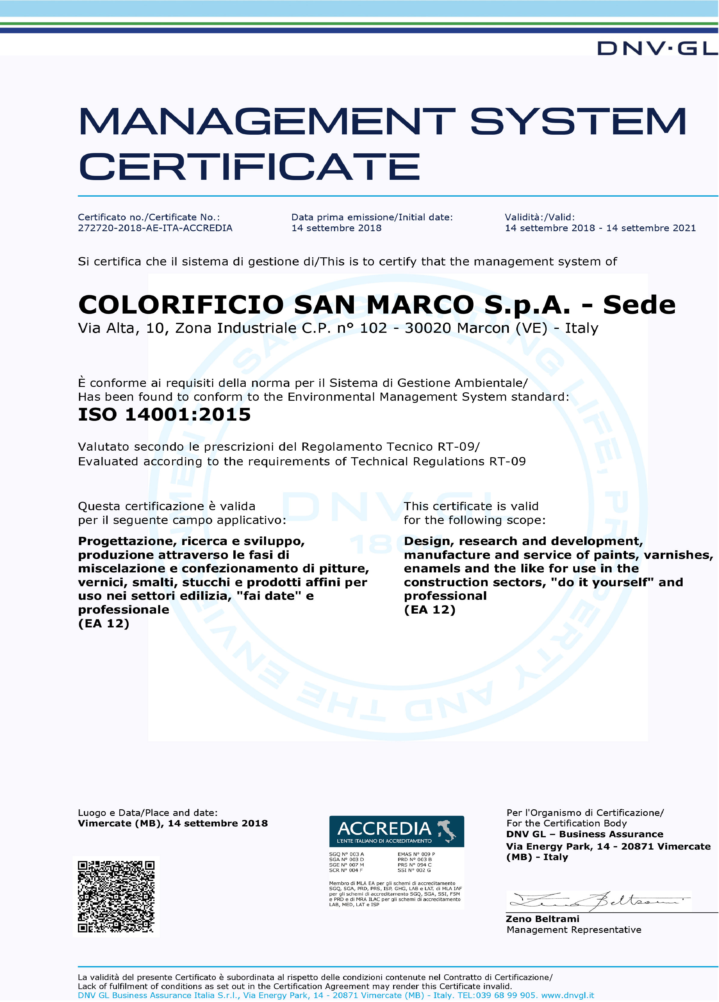 management system certificate san marco group