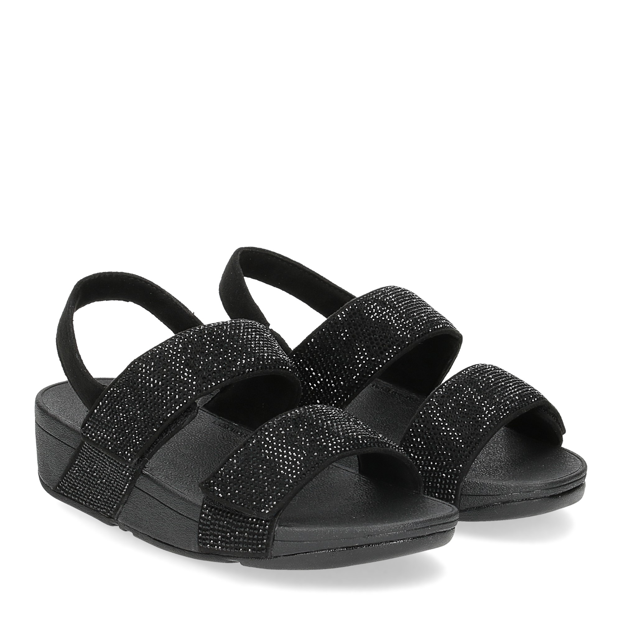 Fitflop Mina Crystal back strap sandals all black