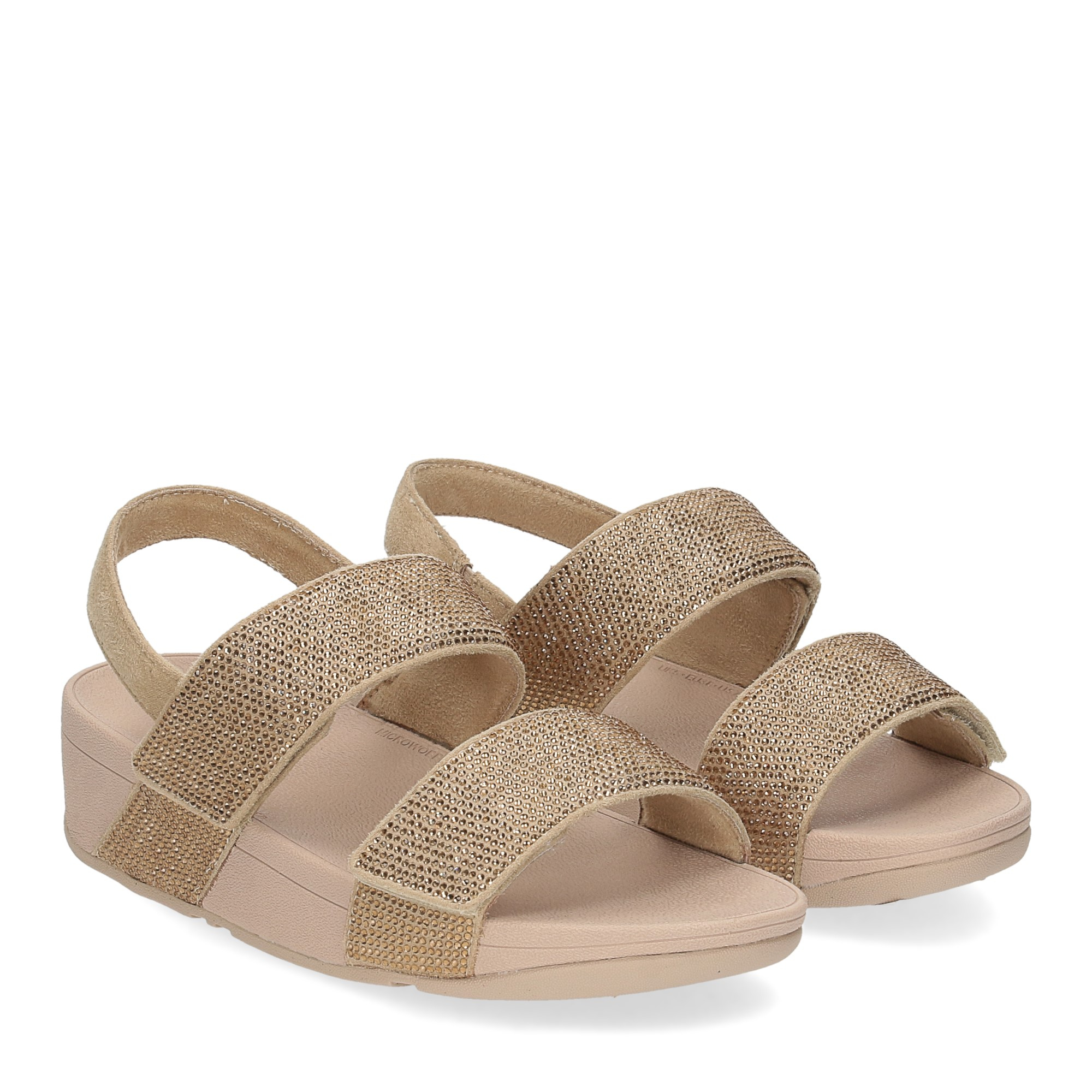 Fitflop Mina Crystal back strap sandals artisan gold
