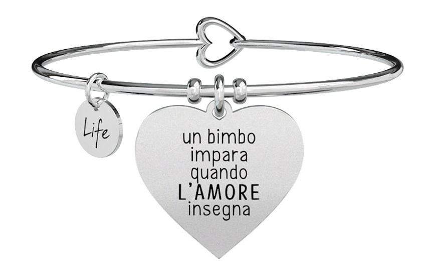 Kidult Bracciale Love, Life CUORE | L'AMORE INSEGNA - Rigido)