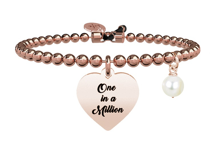 Kidult Bracciale Love, Life CUORE   ONE IN A MILLION Pvd Rosé
