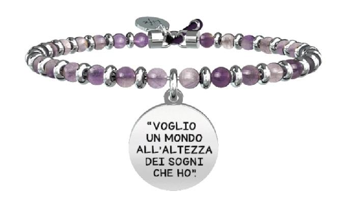 Kidult Bracciale Free Time, Life, Ligabue official Collection (Agata multicolor, Voglio volere)