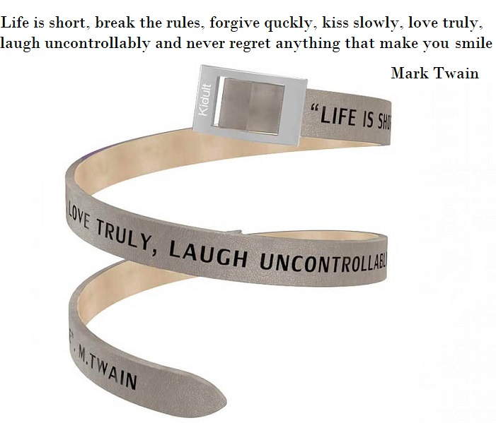 Kidult Cinturino Time Collection, Life is short di Mark Twain, pelle tortora