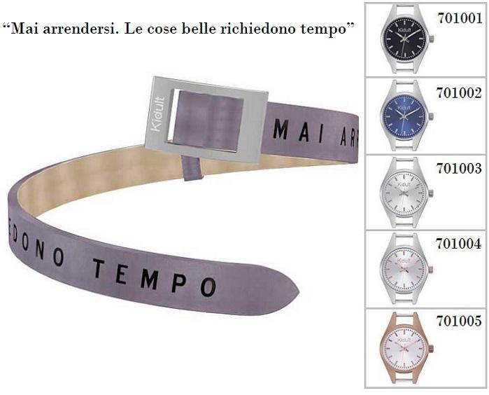 Kidult Cinturino-Bracciale Time Collection, Mai arrendersi... pelle viola