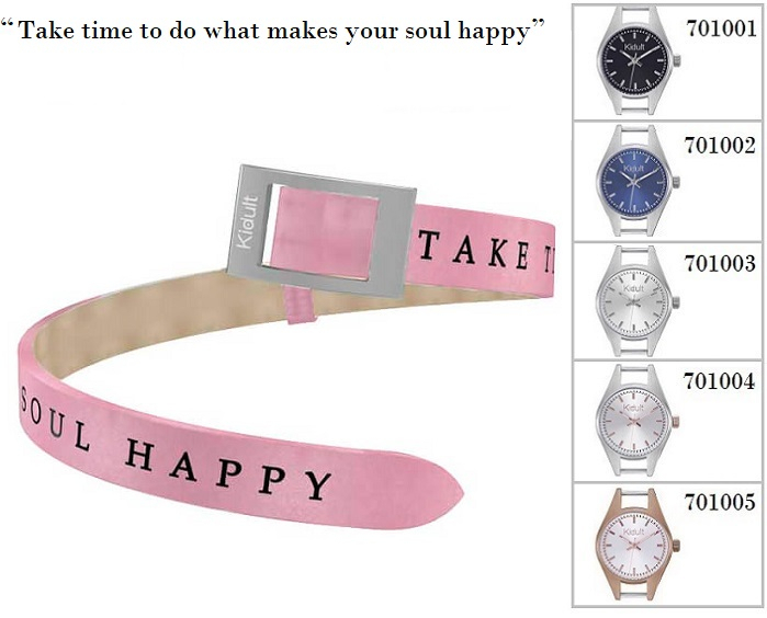 Kidult Cinturino-Bracciale Time Collection, Take time to.., pelle rosa