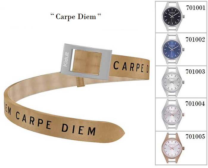 Kidult Cinturino-Bracciale Time Collection, Carpe Diem, pelle avana