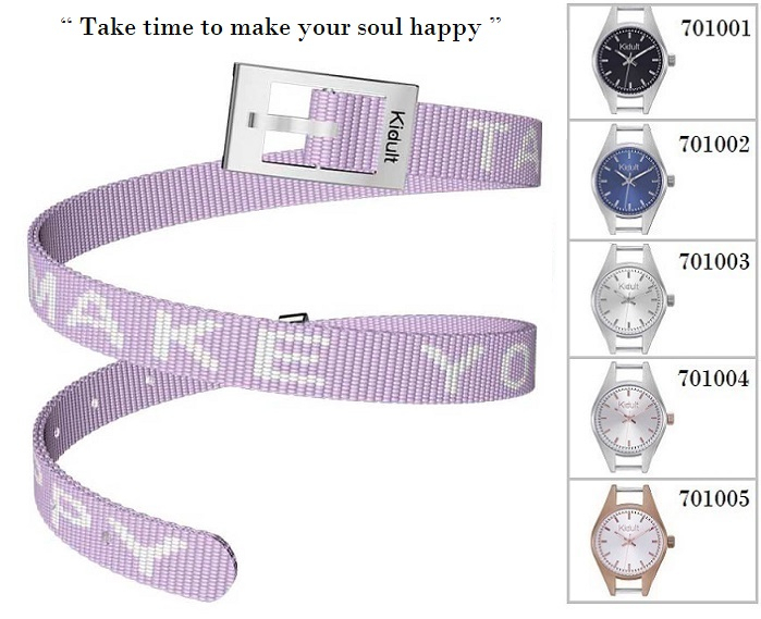 Kidult Cinturino-Bracciale Time Collection, Take time to.., tessuto lilla
