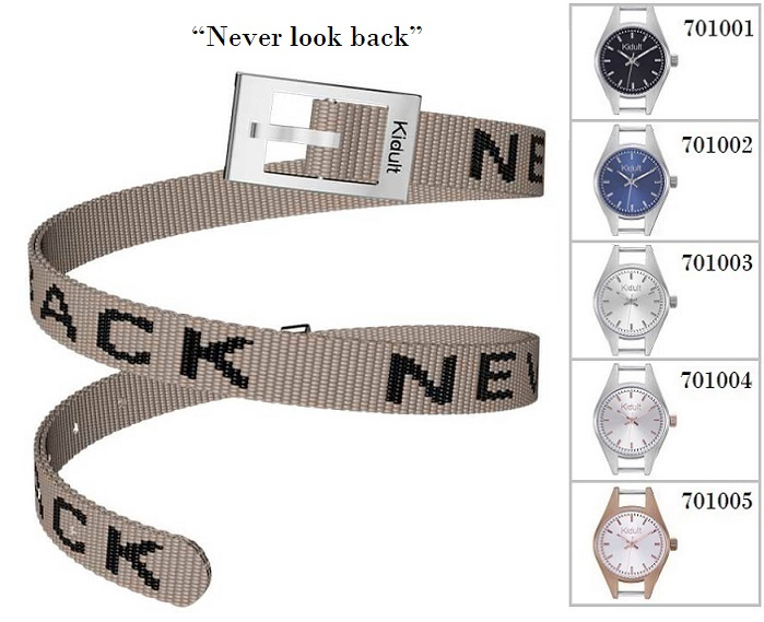 Kidult Cinturino-Bracciale Time Collection, Never look back, tessuto beige