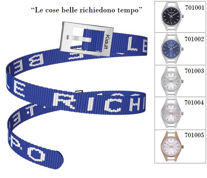 Kidult Cinturino-Bracciale Time Collection, Le cose belle.. tessuto blu