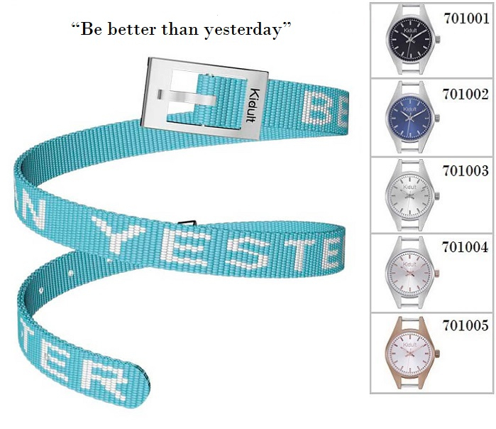 Kidult Cinturino-Bracciale Time Collection, (Be better.., tessuto turchese)