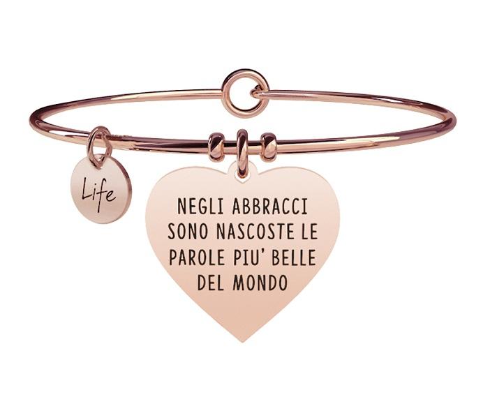Kidult Bracciale Love, Life, CUORE | NEGLI ABBRACCI - Pvd rosé Gold