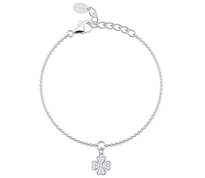 Mabina Bracciale Argento - Quadrifoglio Zirconi pendente