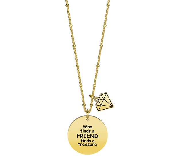 Kidult Collana Love, Life (Who finds a friend.. Pvd Gold)