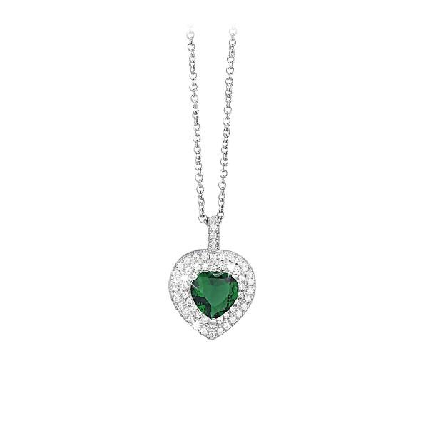 Mabina Collana Argento - Cuore cristallo Smeraldo e zirconi