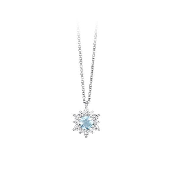 Mabina Collana Argento - Cristallo azzurro e Zirconi