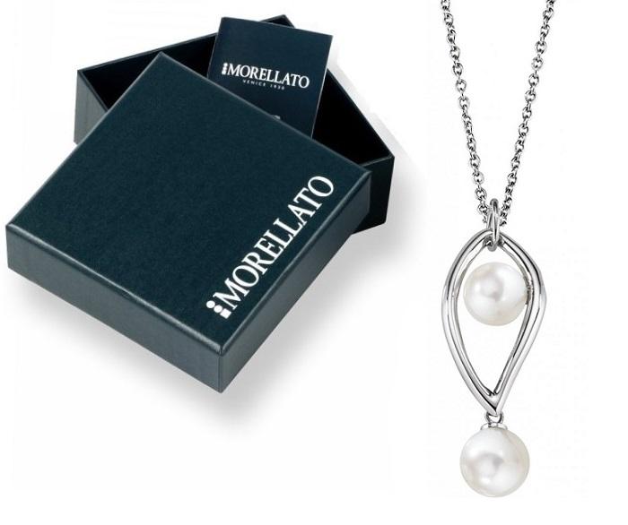 Morellato Collana Foglia (Acciaio, Perle, Lunga 45 cm)