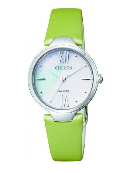 Citizen Lady Eco-Drive L pelle (Acciaio, cinturino in pelle verde, quadrante con riflessi)