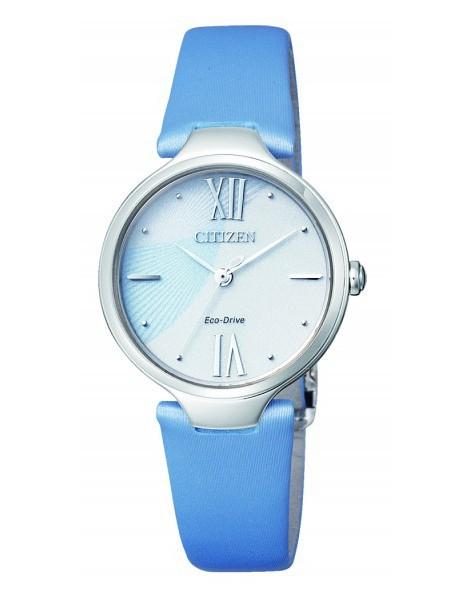 Citizen Lady Eco-Drive L pelle (Acciaio, cinturino in pelle azzuro, quadrante con riflessi)