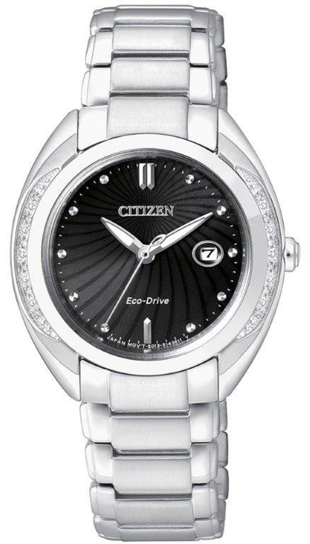 Citizen Lady Diamond (Acciaio, quadrante nero 12 diamanti)