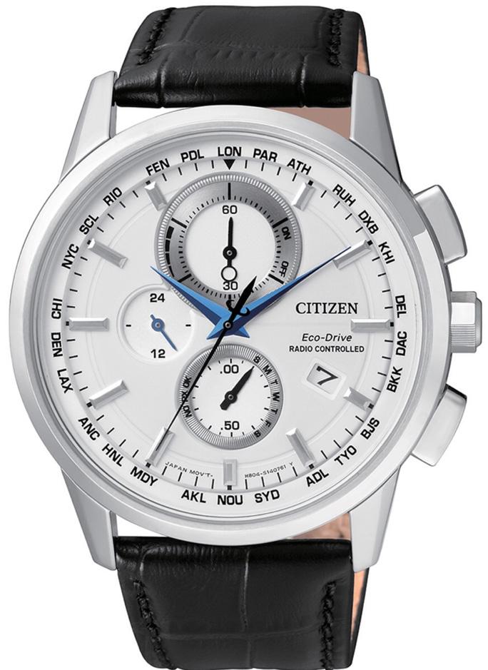 Citizen H804 Quadrante bianco, cinturino pelle nero