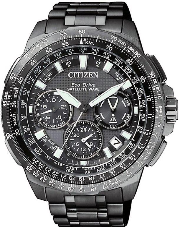 Citizen Satellite Wave Promaster GPS Cassa e bracciale super titanio Duratect DLC nero