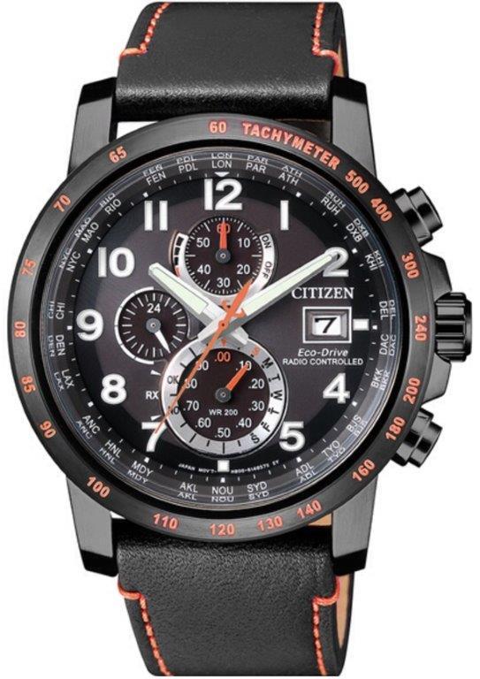 Citizen H800 Sport Quadrante nero, cassa I.P. nero particolari arancioni, cinturino pelle nero
