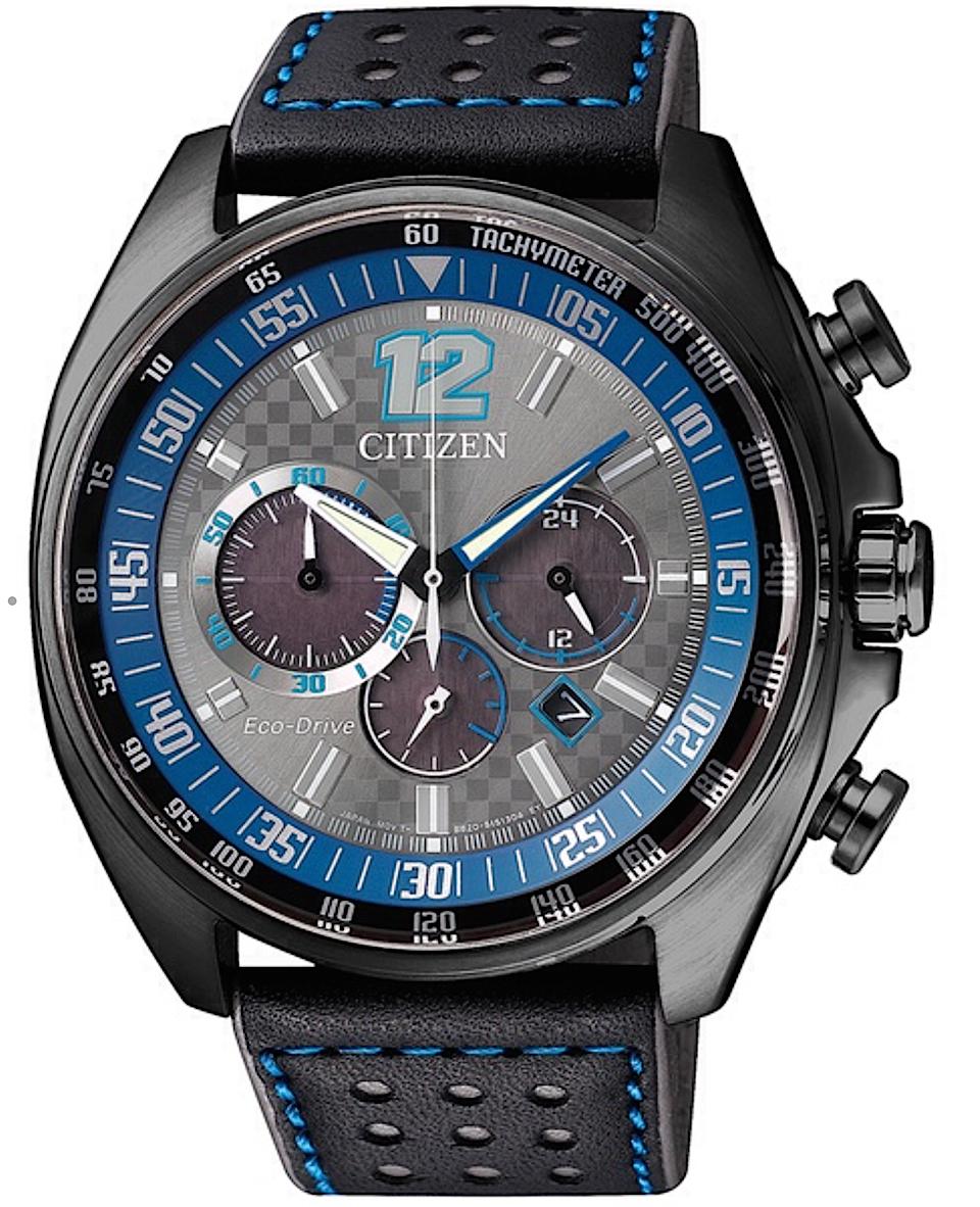 Citizen Chrono Racing Cassa acciaio, cinturino pelle, quadrante grigio