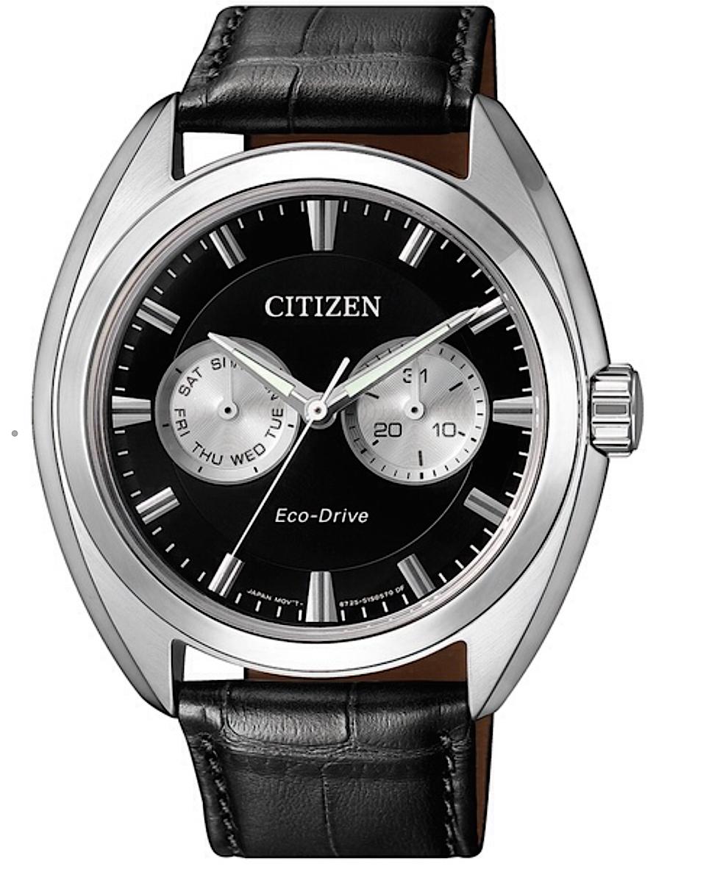 Citizen Style Multifunzione Cinturino pelle nero, quadrante nero