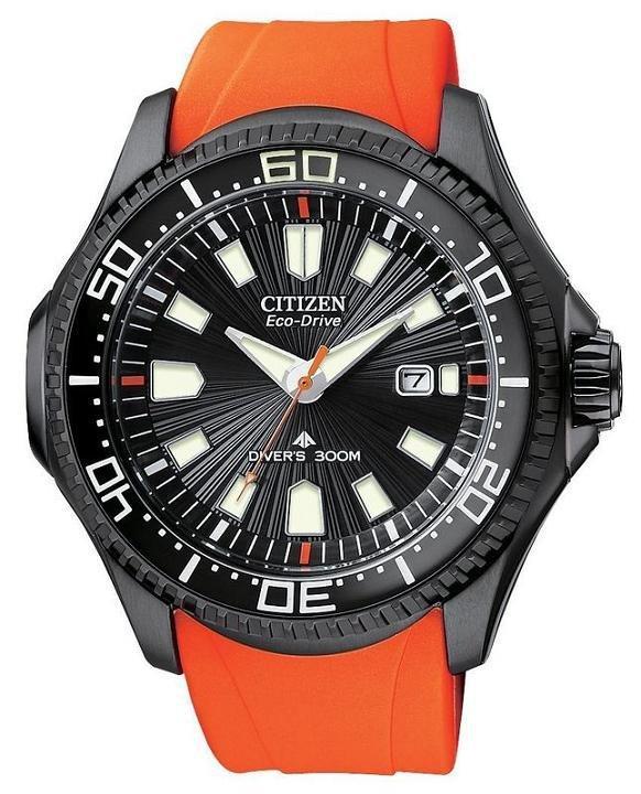 Citizen Diver's 300 mt Eco-Drive (Cassa acciaio I.P. nero, cinturino arancione)