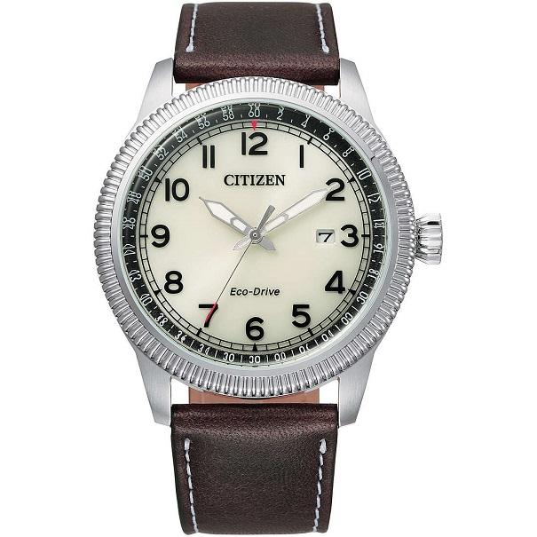 Citizen Aviator Cassa acciaio, cinturino pelle marrone, quadrante bianco
