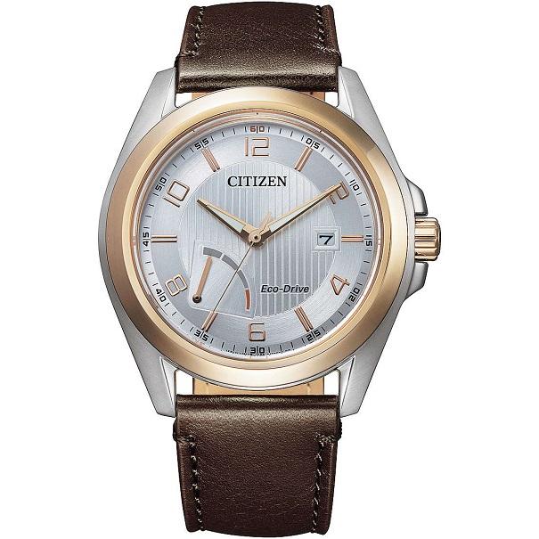 Citizen Reserver Cassa acciaio, cinturino pelle marrone, quadrante bianco