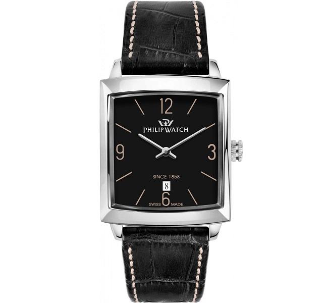 Philip Watch Newport (Quadrante nero, cinturino nero cuciture bianche)