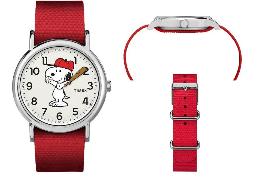 Timex Orologio Weekender - Peanuts, Snoopy, cinturino rosso -