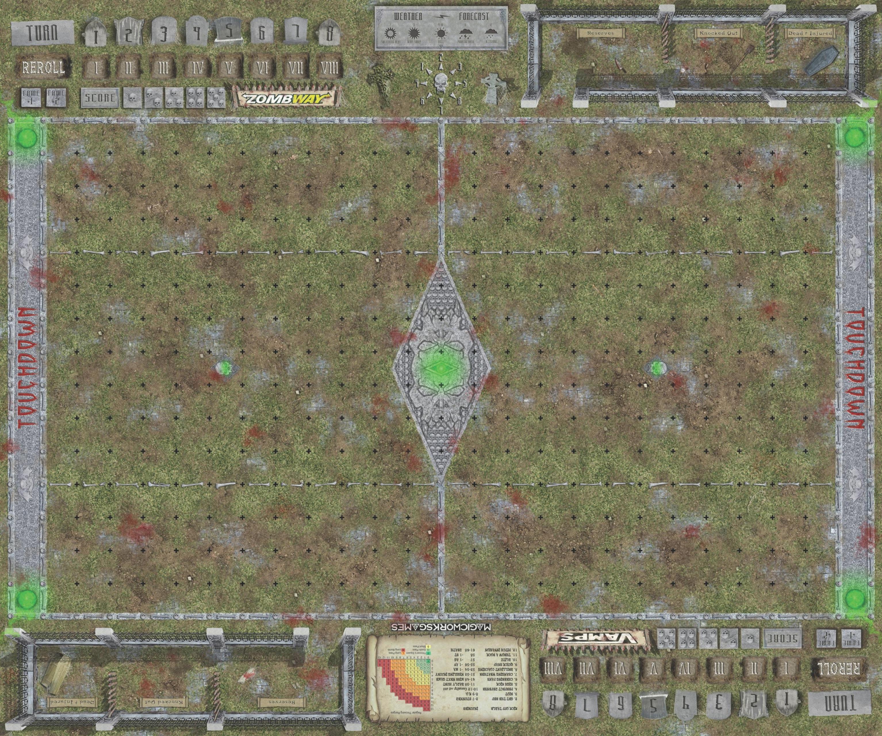 Blood Bowl Pitch - Fantasy Football Pitch - Grave Pitch