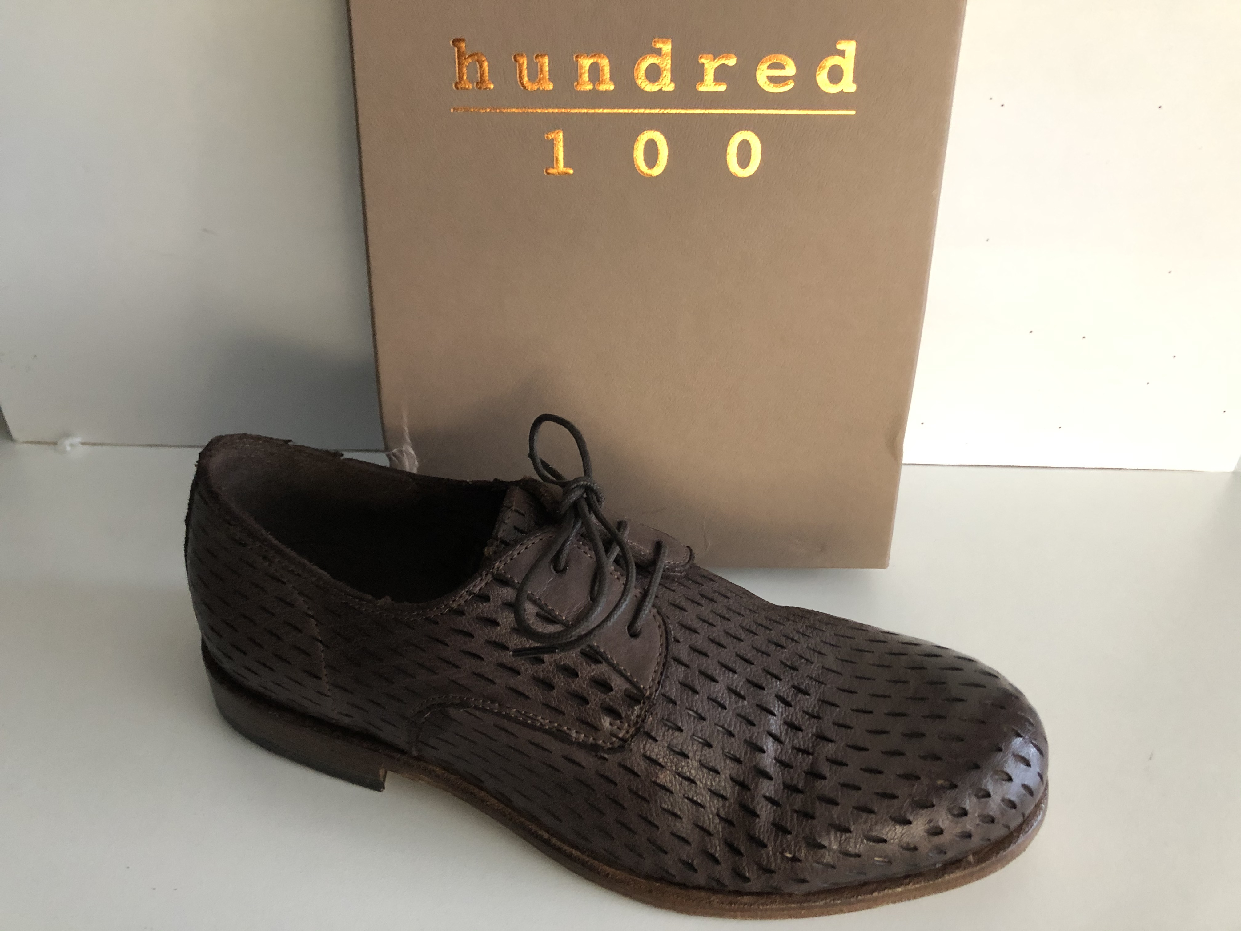 Hundred 100 Scarpa Uomo Stringata Derby Tuffato Testa di Moro M880-21