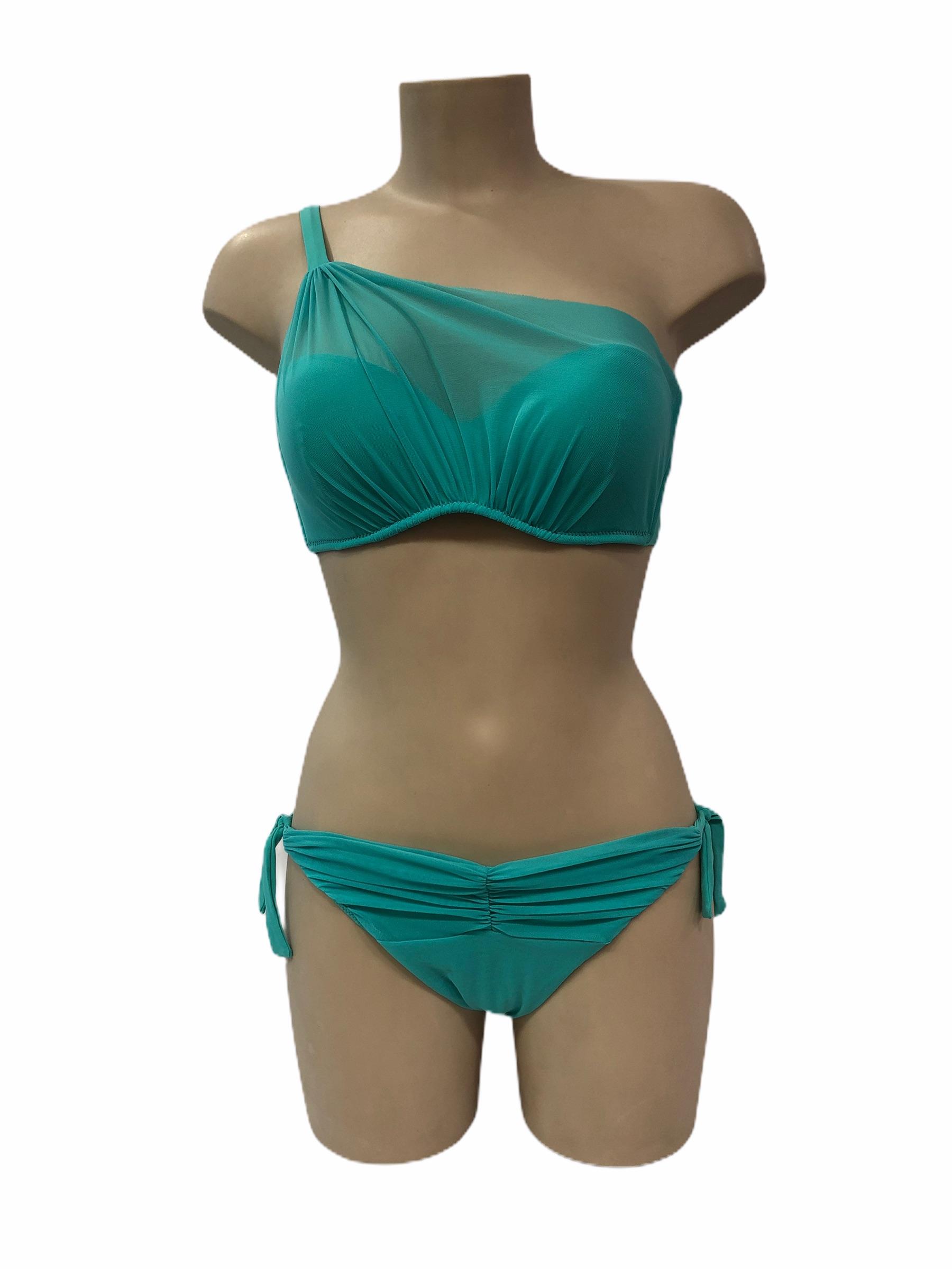 Bikini tulle turchese monospalla