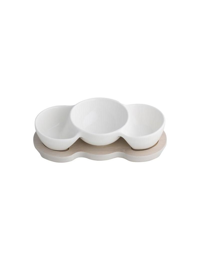 Antipastiera tripla ciotola bianca in porcellana