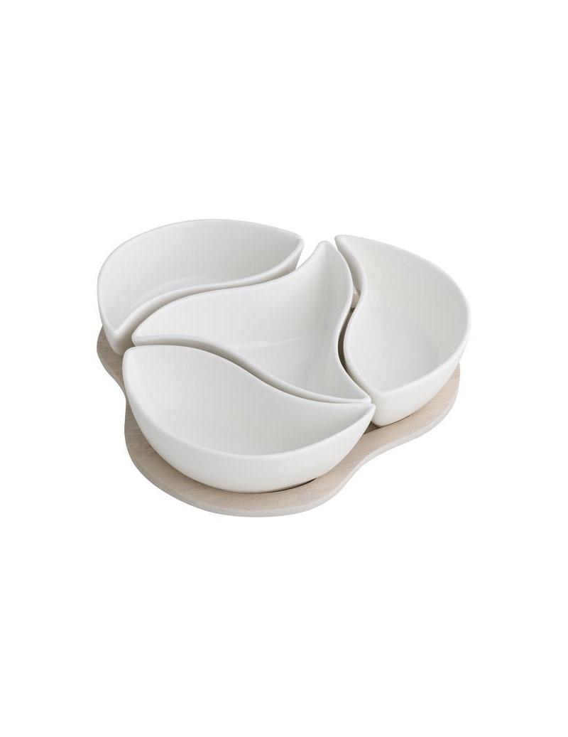 Antipastiera trifoglio con 4 ciotole in porcellana