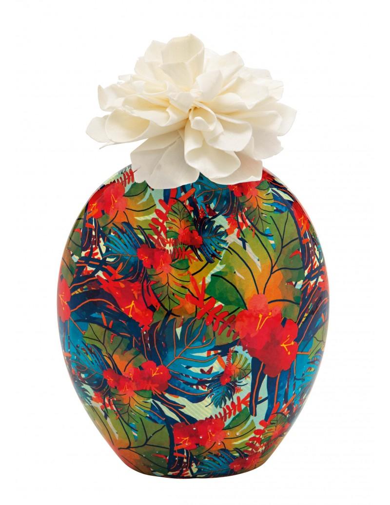 Diffusore di profumo barattolo Tropicale con fiore di carta