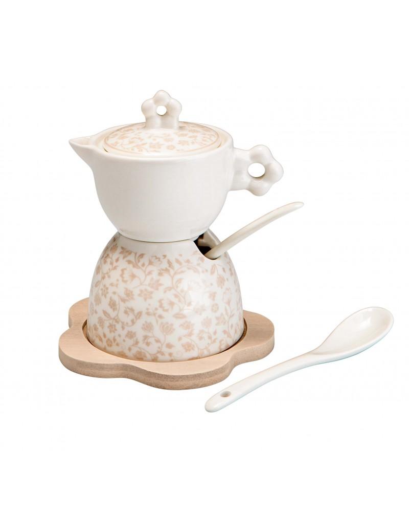 Zuccheriera e lattiera in porcellana decorata con base in legno